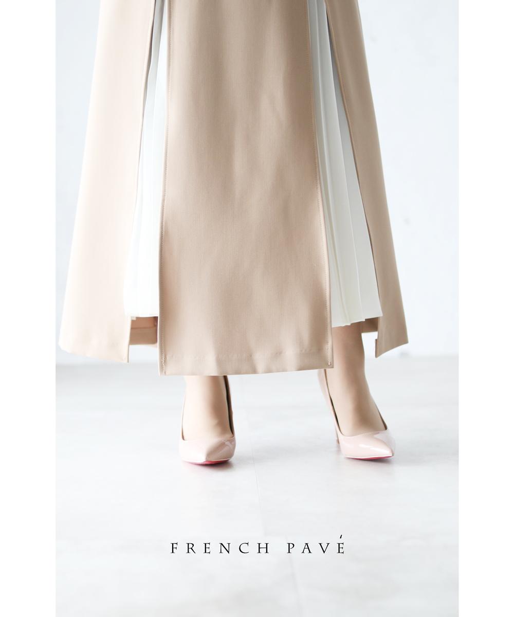 「frenchpave」スリットから魅せるプリーツのAラインスカート3月2日22時販売新作