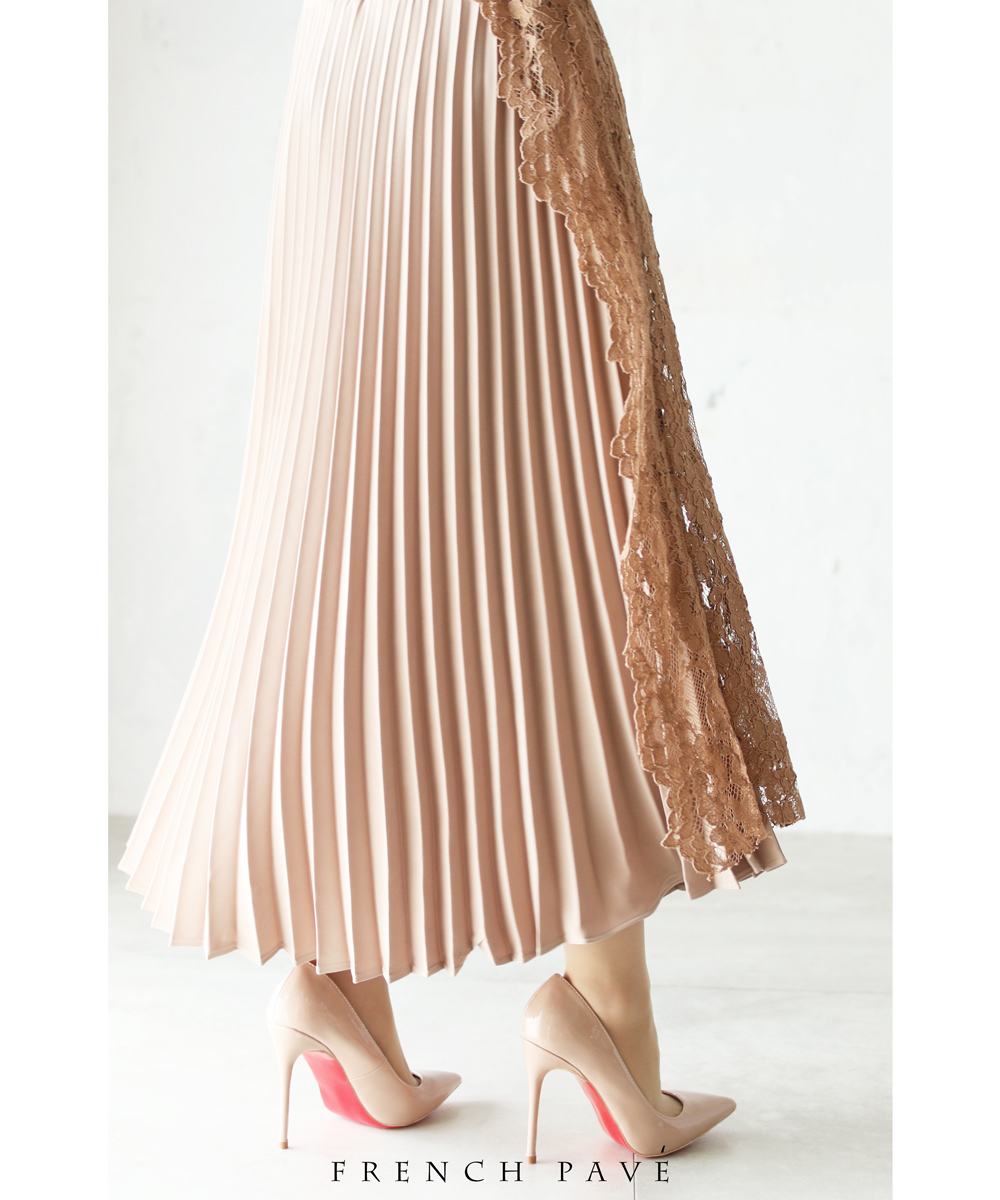 【再入荷♪3月24日12時&22時より】「frenchpave」華やかなサイドレースを飾ったプリーツスカート
