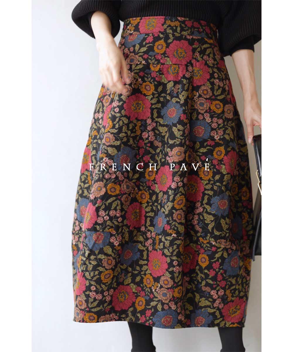(L~3L対応)【再入荷♪4月3日12時&22時より】「FRENCH PAVE」ノスタルジックを身に纏う。花柄コクーンスカート