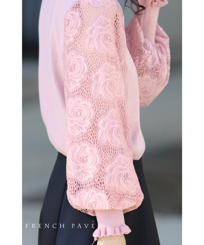 (S~L対応)【再入荷♪2月23日12時&22時より】<BR><BR>(ピンク)「FRENCH PAVE」<BR><BR>華麗なる薔薇ポワン袖のニットトップス