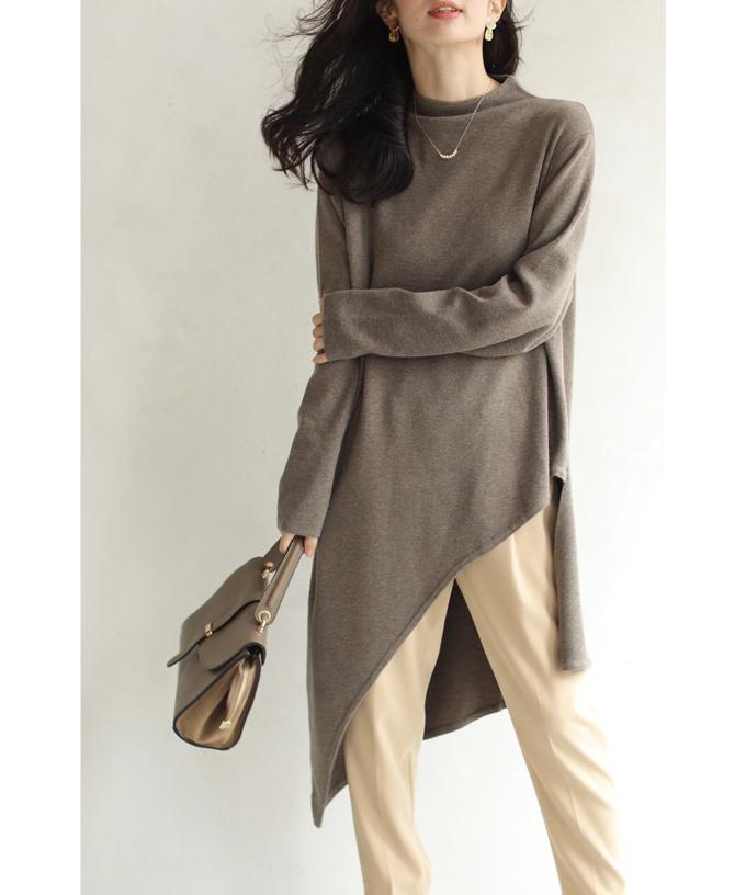 (M~3L対応)(ブラウン)「FRENCH PAVE」冬のお尻の神隠し。ナナメ裾ニットトップス12月15日22時販売新作