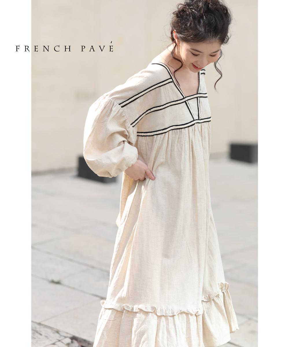 (M~L対)【再入荷♪4月1日12時&22時より】(ベージュ)「FRENCH PAVE」胸元に際立つデザインラインふんわりワンピース