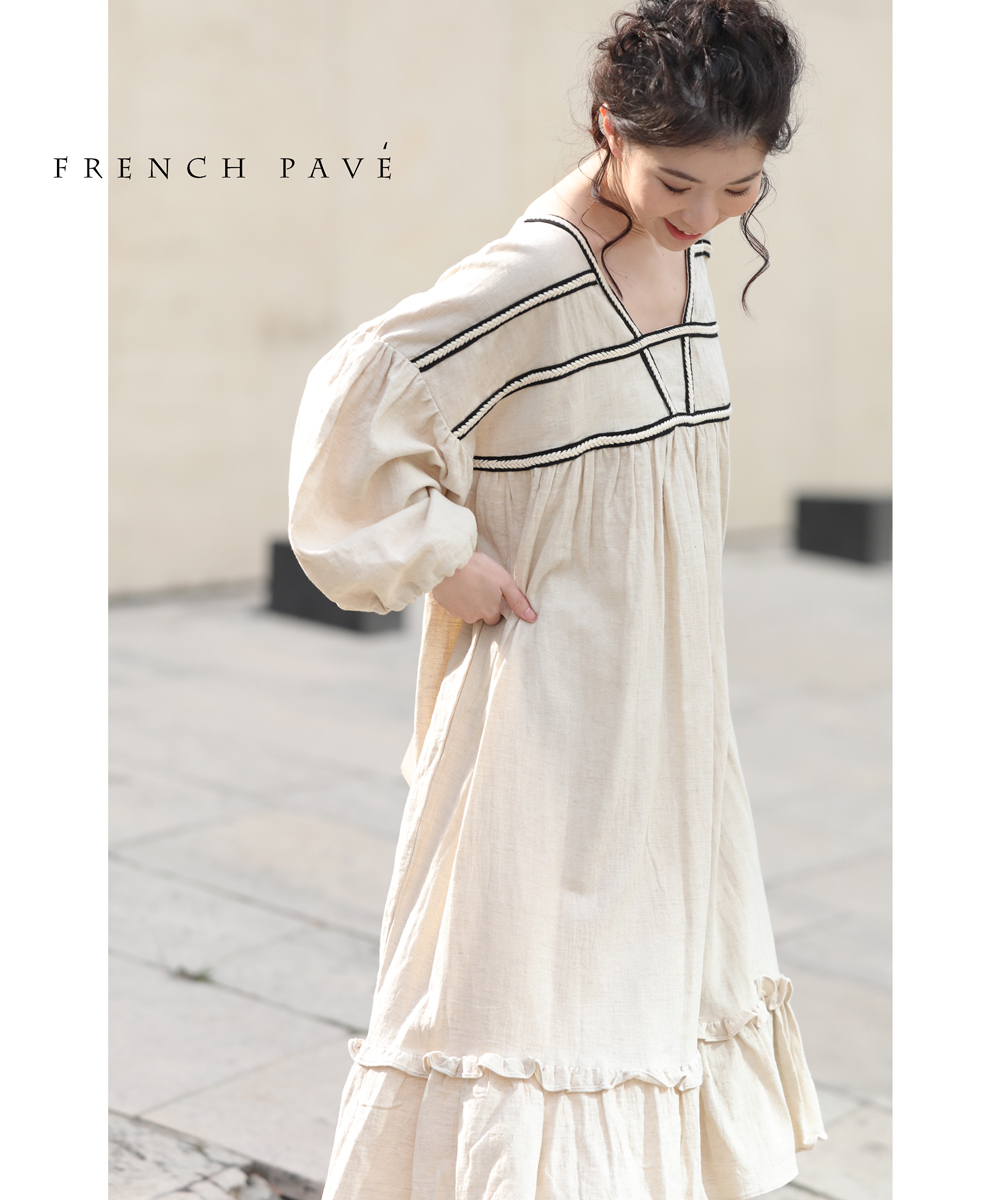baa3fbb97273c cawaii-french 3 ▽▽(ベージュ)「frenchpave」胸元に際立つデザインラインふんわりワンピース4