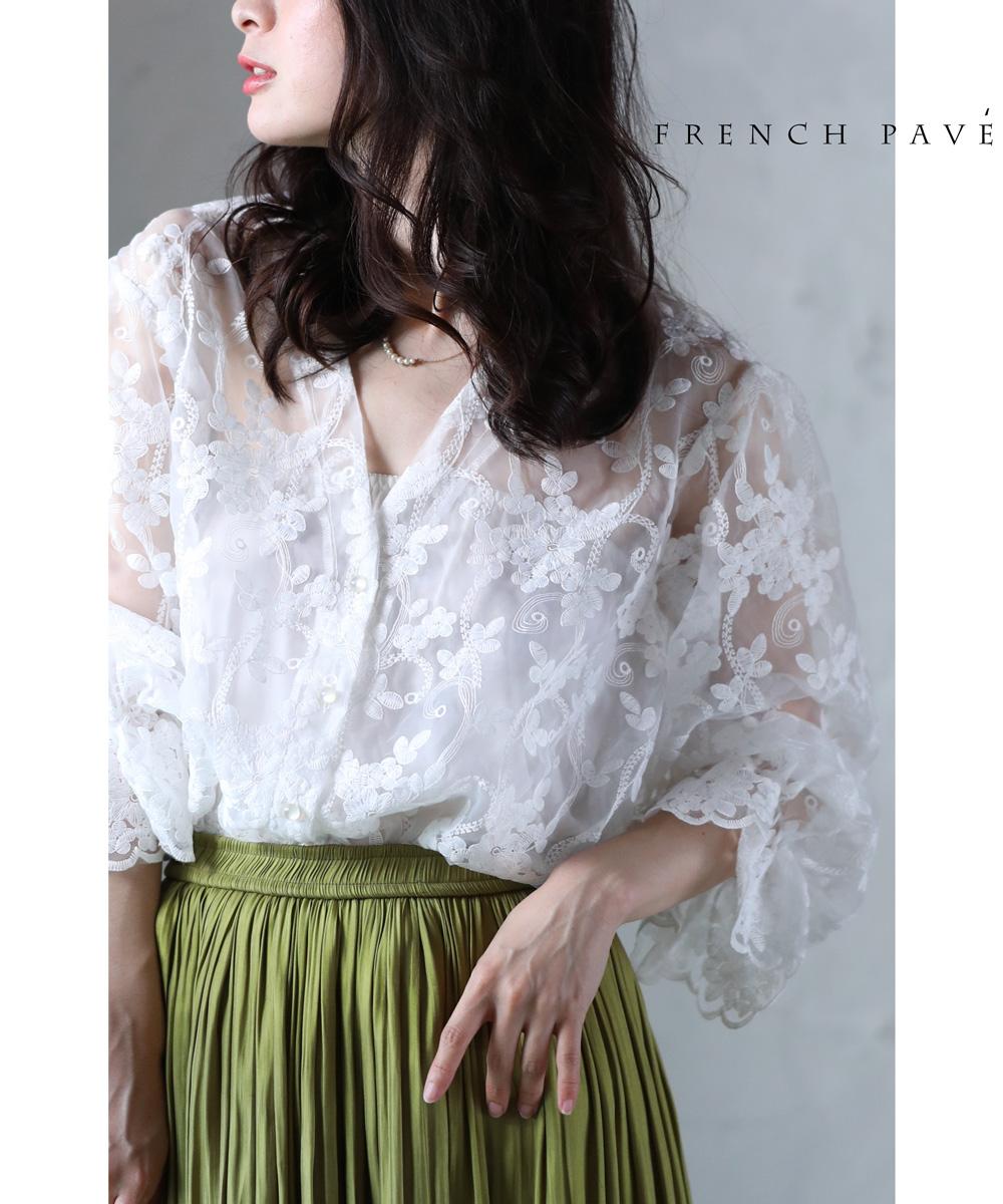 S~L/2L~3L【再入荷♪8月2日12時&22時より】「frenchpave」肌に浮かび上がる花刺繍のバルーン袖レースカーディガントップス 羽織り