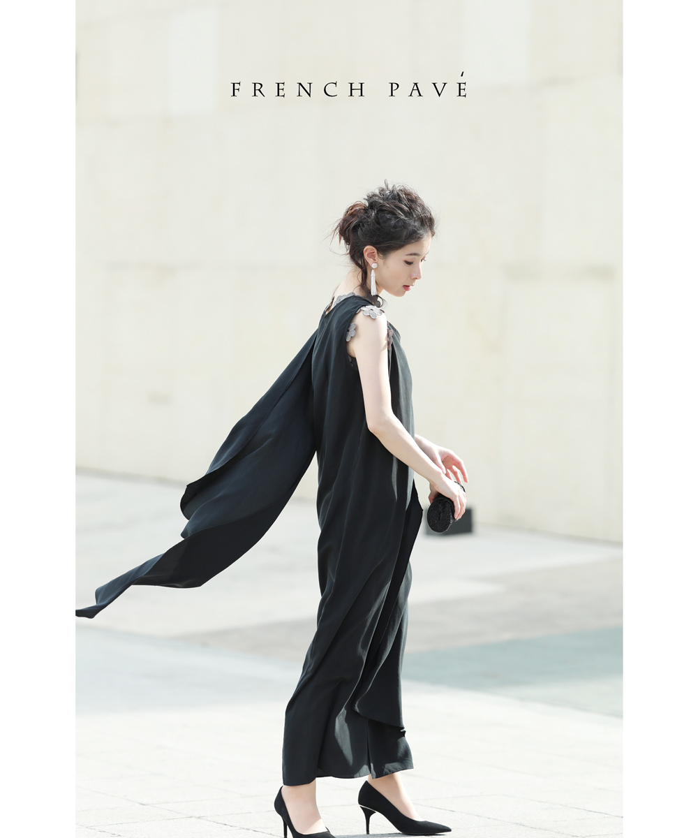 【再入荷♪8月7日12時&22時より】「frenchpave」ひらり美しく風に流れるサイドタイワンピース