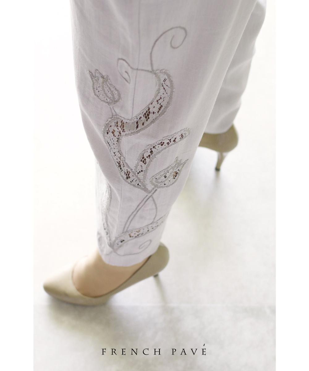 (M~L対応)(グレージュ)「FRENCH PAVE」サイドに咲くチューリップの刺繍レースパンツ