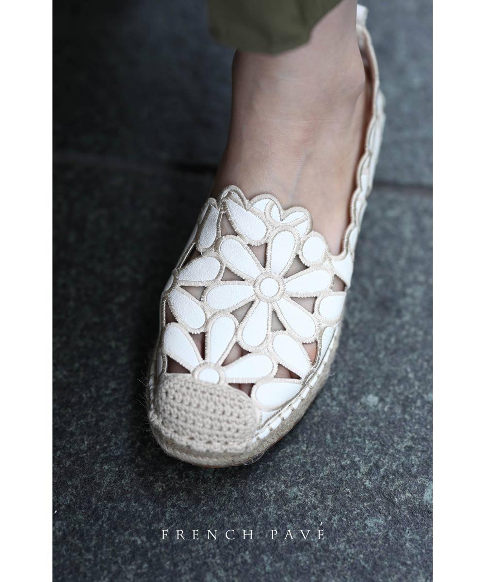 【再入荷♪8月4日12時&22時より】「frenchpave」抜群の歩きやすさ。上品可愛い白花エスパドリーユシューズ 靴