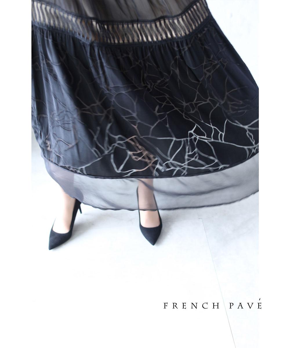 「frenchpave」(黒)軽やかなシースルーのクラックデザインワンピース6月29日22時販売新作