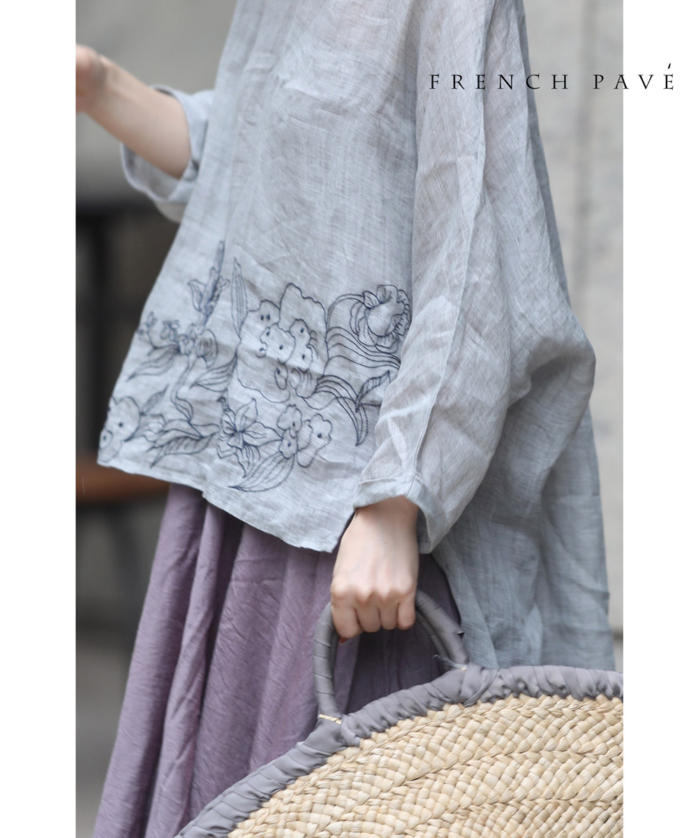 (グレー)「frenchpave」柔らかく肌に触れるソフトな花刺繍ブラウストップス6月28日22時販売新作
