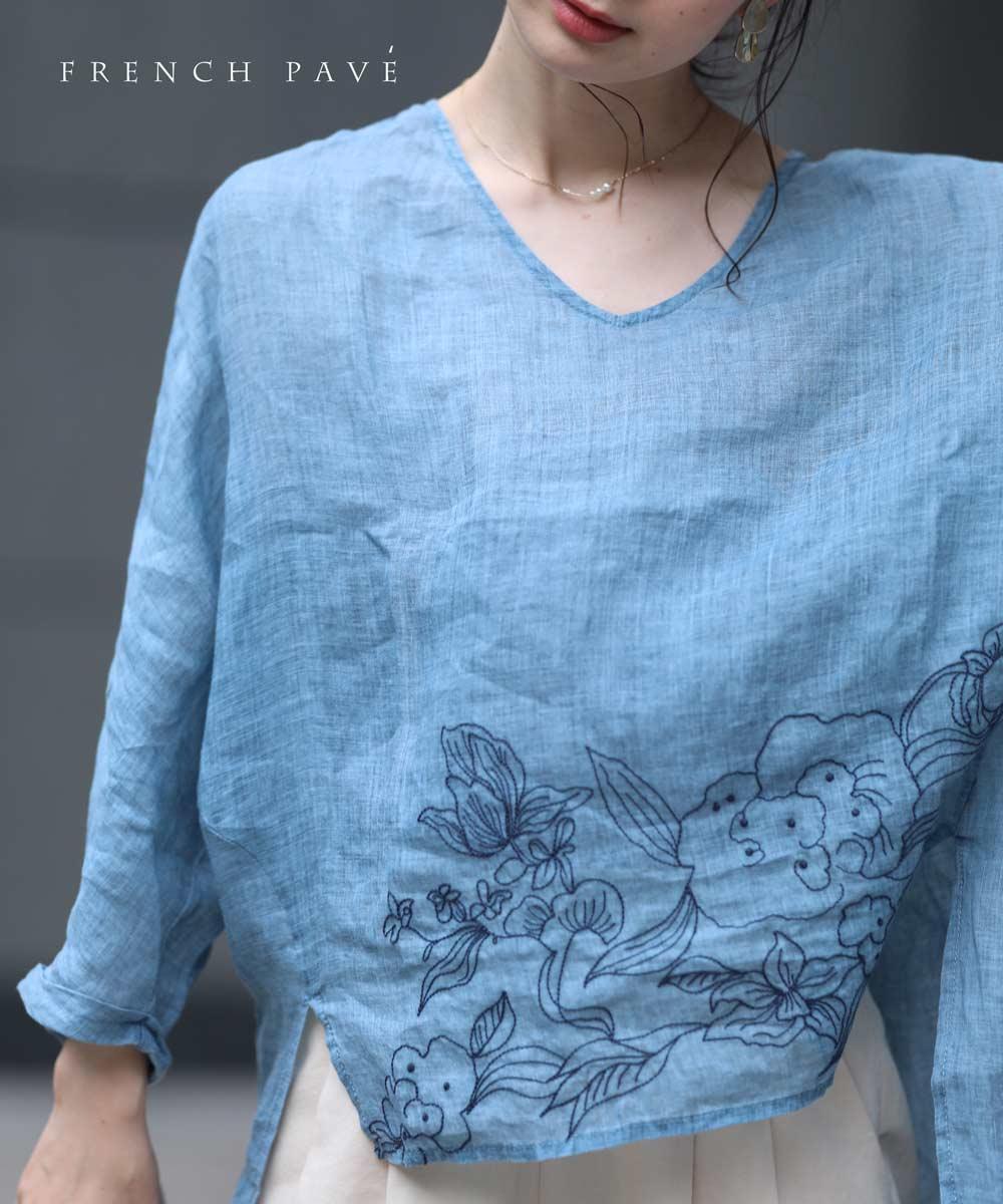 【再入荷♪7月14日12時&22時より】(ブルー)「frenchpave」柔らかく肌に触れるソフトな花刺繍ブラウストップス