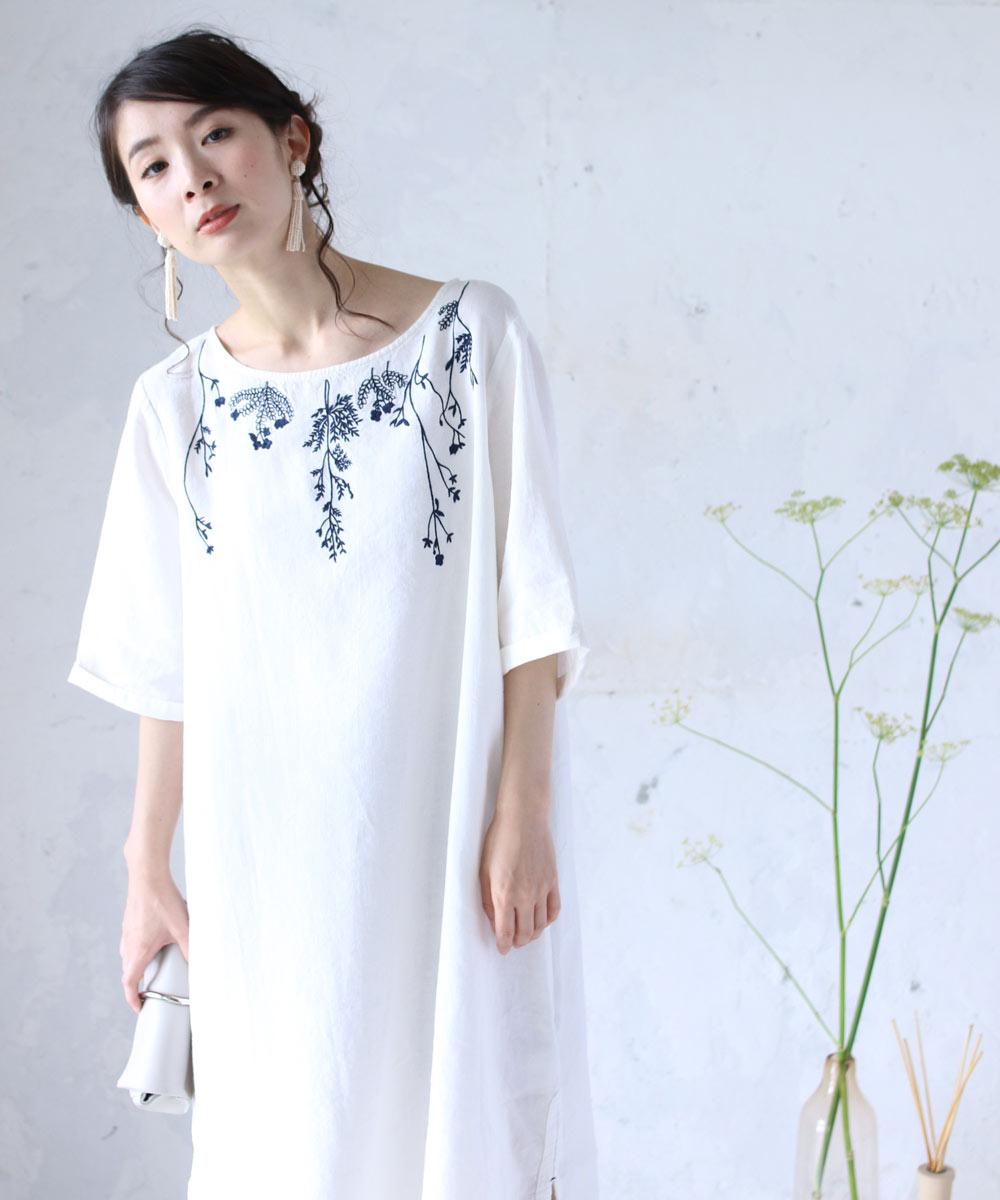 (M~L対応)【再入荷♪5月3日12時&22時より】(ホワイト)「FRENCH PAVE」前後に枝垂れ咲く小花刺繍のワンピース
