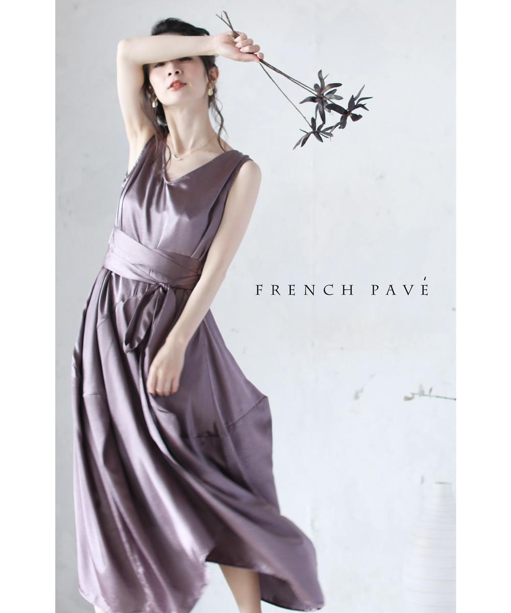 (S~L対応)【再入荷♪3月11日12時&22時より】「FRENCH PAVE」☆☆ラグジュアリーな光沢。コクーングロスドレスワンピース