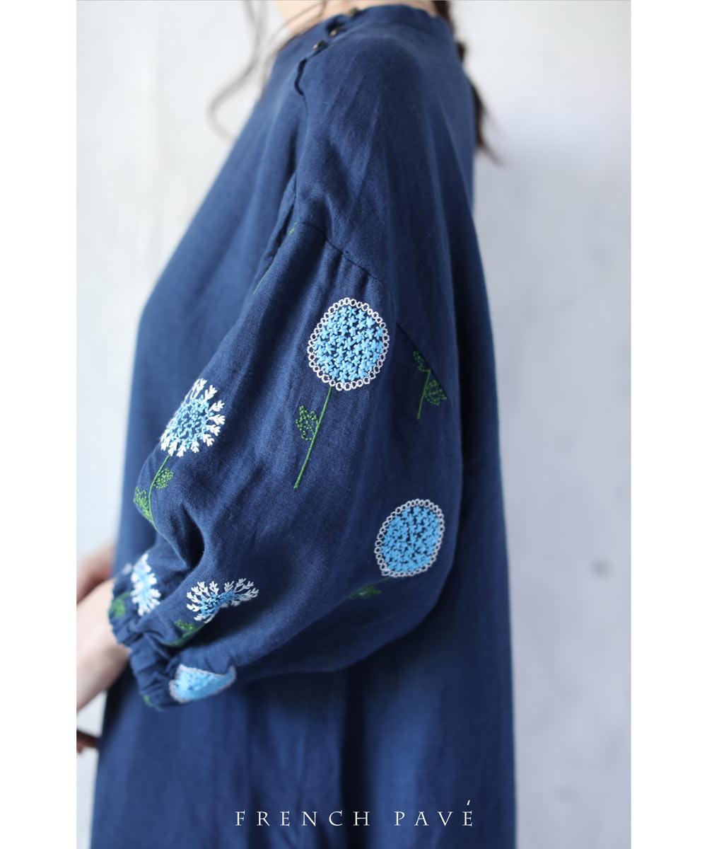 【再入荷♪8月25日12時&22時より】(ネイビー)「frenchpave」(濃紺)可愛い花刺繍のフラワースリーブミディアムワンピース