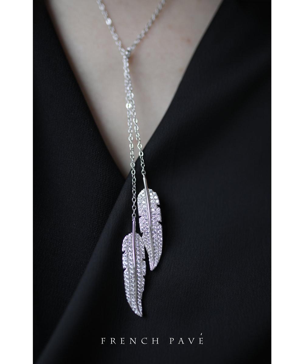 【再入荷♪9月29日12時&22時より】「frenchpave」2つの羽がキラキラ輝くパヴェラリアットネックレス