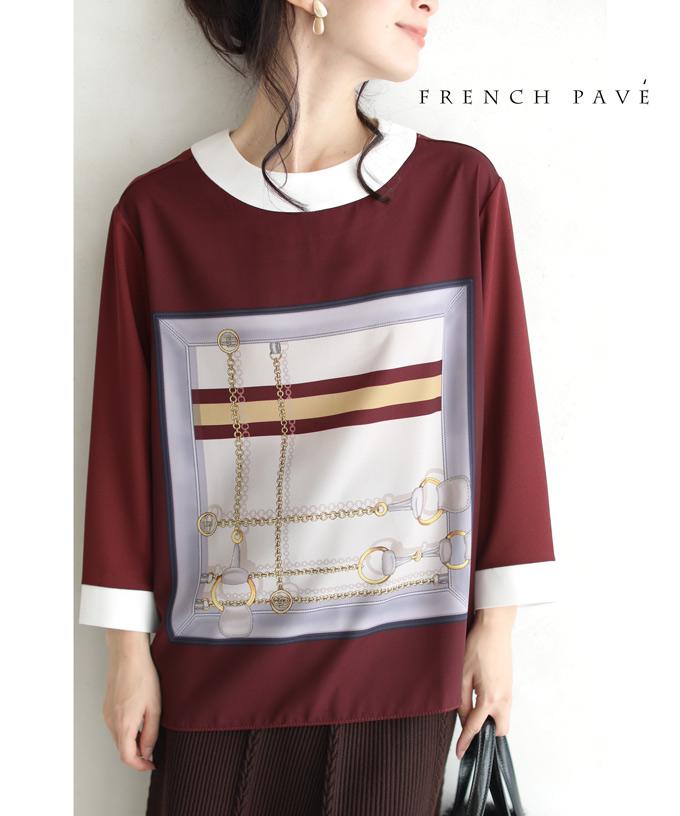(S~M対応)(ボルドー)「FRENCH PAVE」高級感あるスカーフ柄ブラウストップス