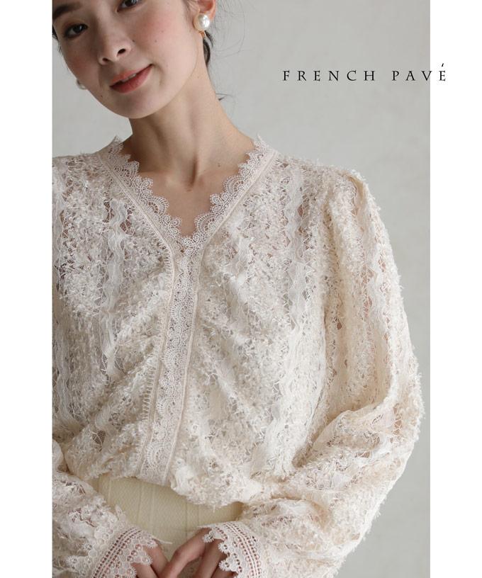 (M~3L対応)(アイボリー)「FRENCH PAVE」ふわふわカールシャギーの総レースブラウストップス12月10日22時販売新作