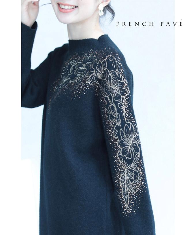 (M~L対応)「FRENCH PAVE」(黒)ビジュー纏う花が流れるニットミニワンピース1月14日22時販売新作