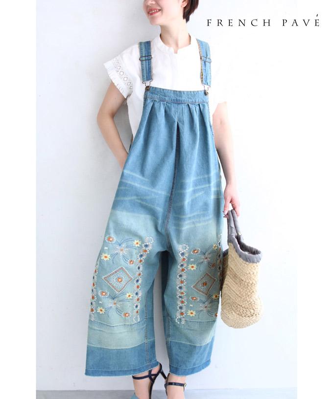 (S~L対応) 【再入荷♪4月19日12時&22時より】「FRENCH PAVE」花刺繍の大人可愛いデニムサロペット