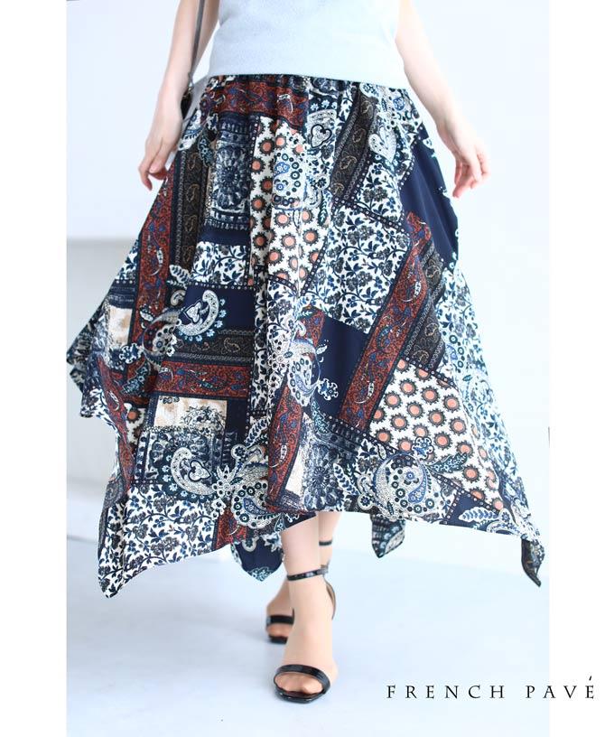 (M~3L対応)【再入荷♪4月26日12時&22時より】(ネイビー)「FRENCH PAVE」(紺)優雅に揺らめくランダム裾スカーフ柄ミディアムスカート
