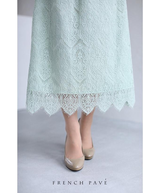 (S~L対応)(ミント)「FRENCH PAVE」揺らめくフリル裾の美しいレースミディアムスカート3月30日22時販売新作
