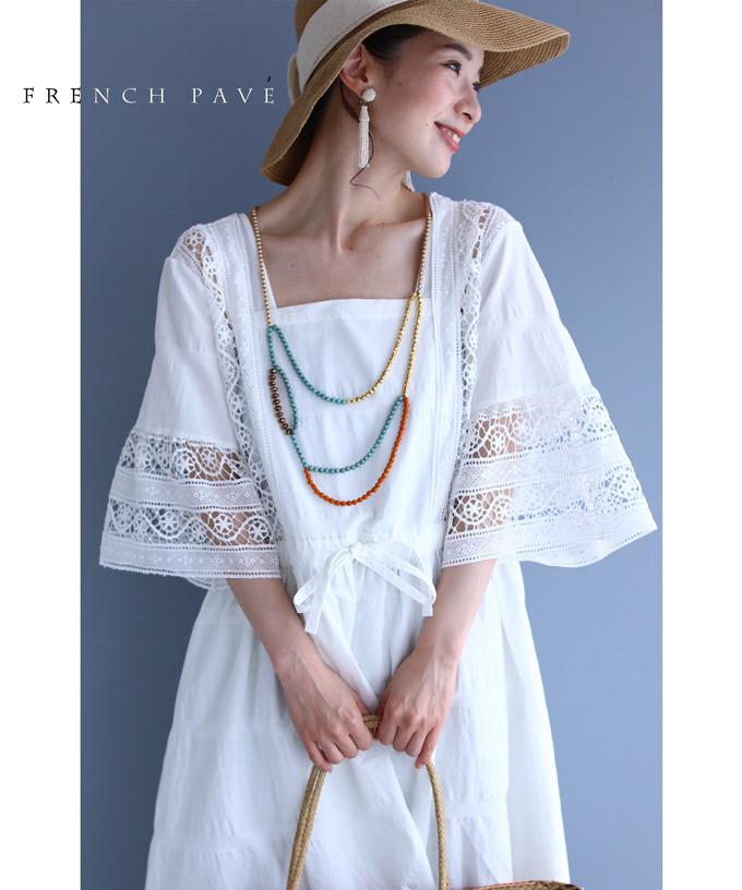 (M~L対応)【再入荷♪7月17日12時&20時より】「FRENCH PAVE」浮かぶ優美なレースのフレアスリーブチュニック