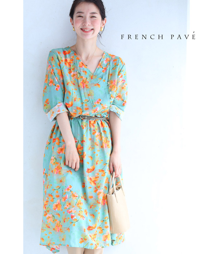 (S~L対応)【再入荷♪7月17日12時&20時より】「FRENCH PAVE」鮮やかなオレンジの花描くコットンロングワンピース