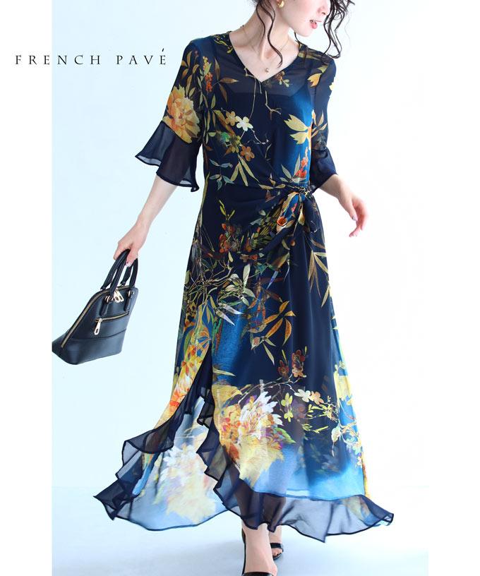 【再入荷♪7月12日12時&20時より】「FRENCH PAVE」(紺)ひらひら舞う裾のボタニカルシアーロングワンピース