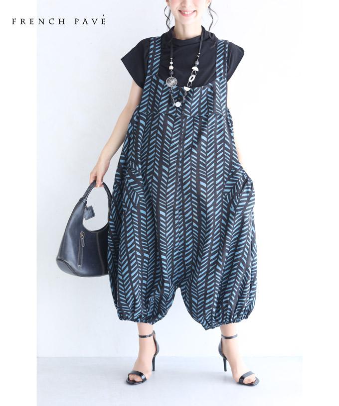 (M~L対応)「FRENCH PAVE」シックな柄のふんわりポワン裾サロペット8月22日20時販売新作