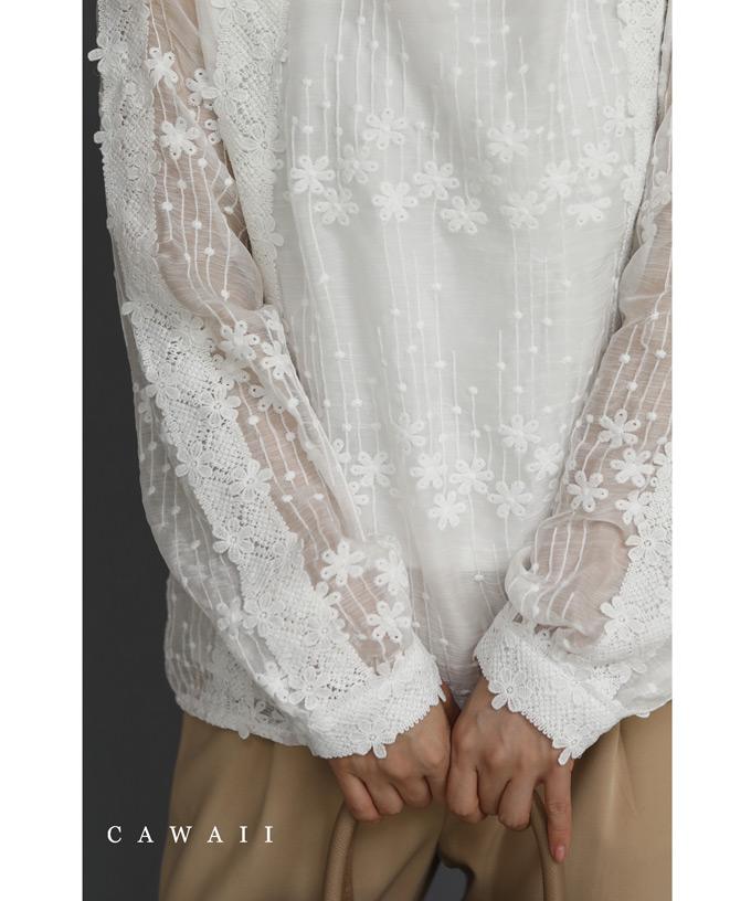 当店一番人気 CAWAII 国産品 9月24日20時販売新作 S~L対応 愛らしい小花のレースブラウストップス