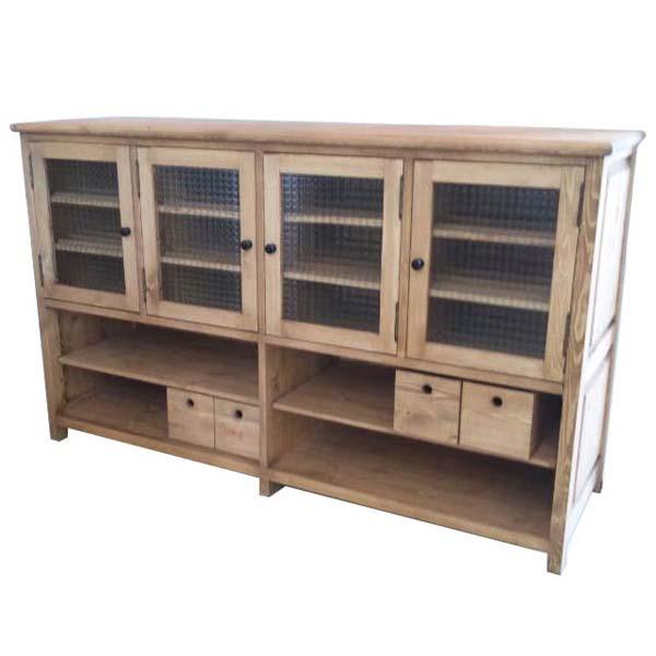 【送料無料】 【無公害塗料】パイン材 1500 キャビネット 食器棚 収納棚 自然塗料【大型配送商品】