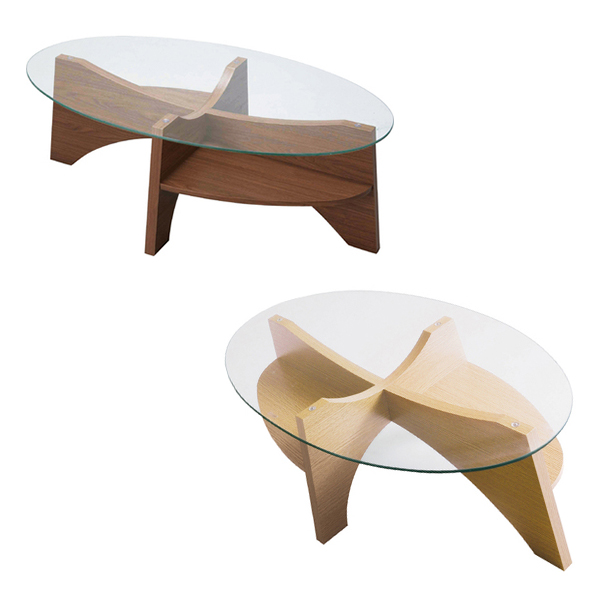 【送料無料】 オーバルテーブルキレイなフォルム デザイン ラスリビングテーブル 幅105cm ウォールナット リビング おしゃれ デザイン ローテーブル ユニークデザイン 楕円形 楕円 テーブル シンプル オシャレ リビングテーブ