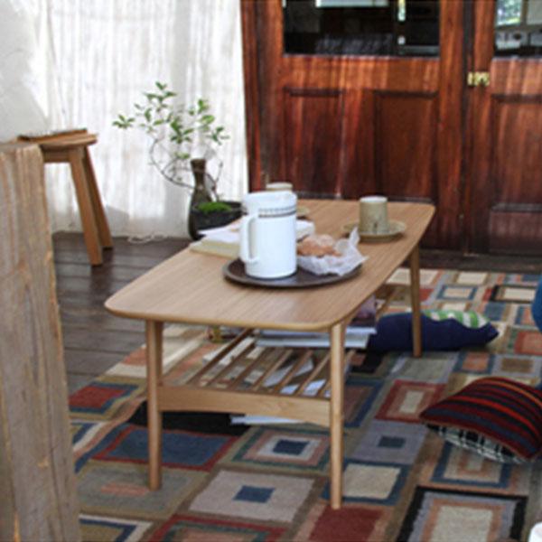 【送料無料】 センターテーブル リビングテーブル コーヒーテーブル 棚付 テーブル つくえ 机 オーク材 棚板 収納 アッシュ 天然木 北欧 ナチュラル カフェ シンプル 北欧テイスト 机 角が丸い 木目 低い 高級感 ローテーブル