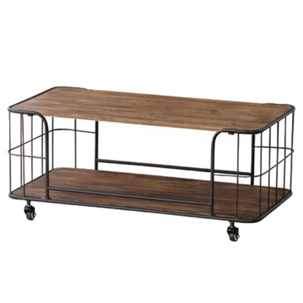 【送料無料】 センターテーブル リビングテーブル キャスター付き かっこいい カフェ サロン 自宅 オフィス モダン ヴィンテージ テーブル 収納 雑誌 木製 シンプル スチール おしゃれ ウッド シック ウォールナット つくえ 机