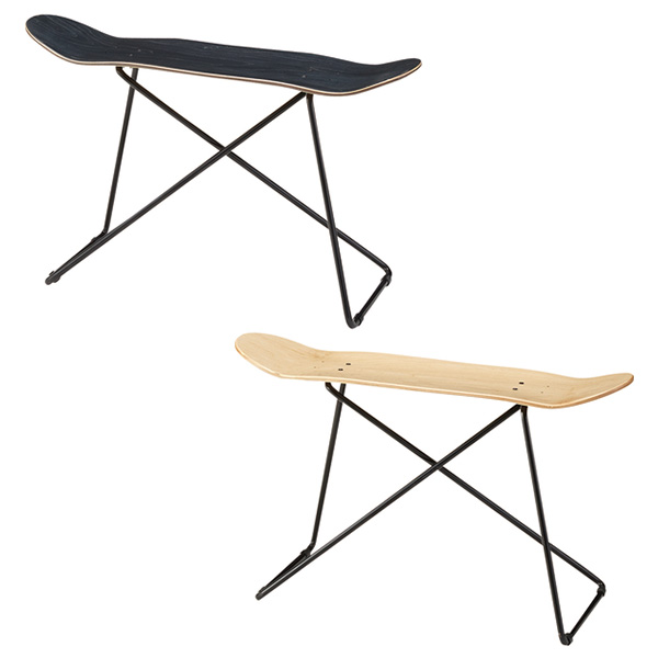 【送料無料】 スツール (BK/NA) 椅子 いす イス ベンチ テーブル サイドテーブル インテリア レトロ おしゃれ スケボー コーヒーテーブル 幅81cm 家具 カフェ風 スケートボード アメリカ 西海岸 ビンテージ風 ヴィン