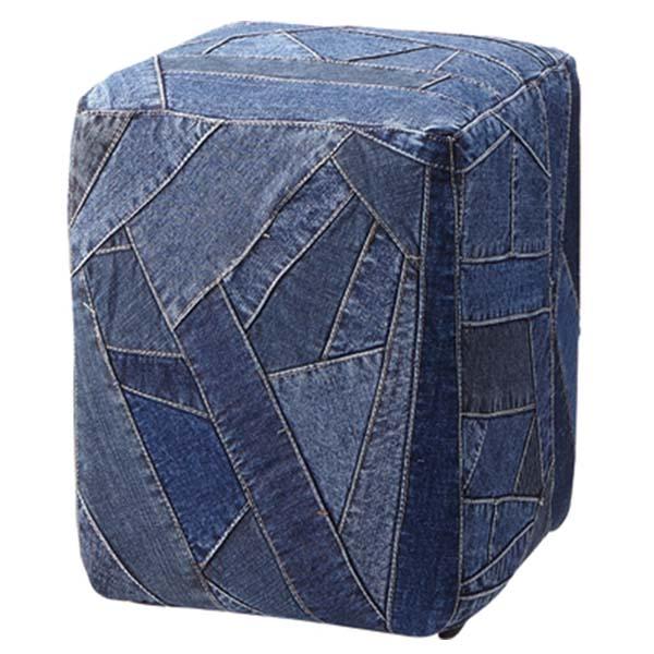 【送料無料】 スツール ロースツール 椅子 いす チェア チェアー アメリカン デニム ジーンズ デニム生地 ジーンズ生地 ジーパン ソファ ソファー 1人掛け 1人掛 1人用 四角 正方形 サイコロ型 インテリア 家具 Gパン ポ