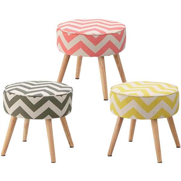 【送料無料】 スツール (GR/PK/YE) チェア 椅子 いす チェアー 1人掛け 1人用 レトロ ミッドセンチュリー モダン ミニチェア イス 腰掛 腰掛け椅子 幾何学 柄 模様 北欧 カラフル ポップ オブジェ 家具 インテリア