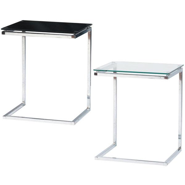 【送料無料】 サイドテーブル (BK/CL) ガラス テーブル ガラステーブル インテリア 家具 花台 観葉植物 カフェテーブル デザイン ベッドサイド ベットサイド ソファサイド ソファーサイド 机 つくえ シンプル ブラック