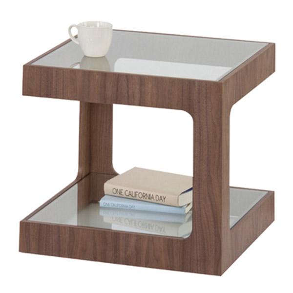 【送料無料】サイドテーブル ガラス テーブル ガラステーブル ベッドサイド ソファーサイド 机 つくえ シンプル インテリア 家具 北欧 花台 観葉植物 カフェテーブル デザイン スタンダード 木製 ウォールナット ブラウン ベットサイド ソファサイド