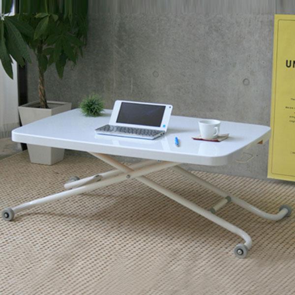 【送料無料】 昇降テーブル グリーン/ホワイト リフトテーブル リフティングテーブル リビングテーブル ハイローテーブル 白 緑