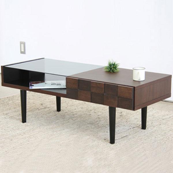 【送料無料】 リビングテーブルポイントは引出し部分の凹凸と天板一部のガラス!!テーブル センターテーブル リビングテーブル 机 カフェテーブル レトロ コーヒーテーブル ローテーブル シンプル モダン 机 つくえ