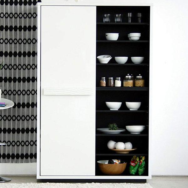 【送料無料】 120キッチンボード スタイリッシュかつ、収納性も兼ね備えた大型食器棚台所収納。 モダン/モノトーン/白黒