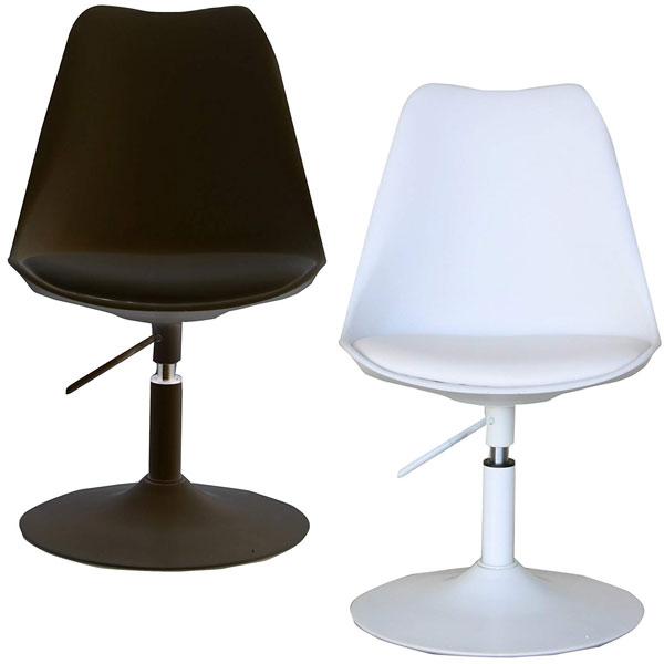 【送料無料】 ラウンジチェア ブラック/ホワイト 繊細で美しいラインでフィットする座り心地のチェア。 モノトーン/シンプル/モダン/スタイリッシュ 1本脚 回転式 ダイニングチェアー デスクチェアー イス いす 椅子