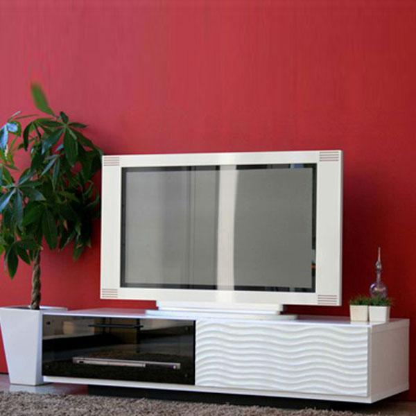 【送料無料】 120 テレビボード ホワイト×ブラックのモノトーンがスタイリッシュでモダン 裏面と天板に完備したコード穴でスムーズ配線。 テレビ台 ローボード 白黒