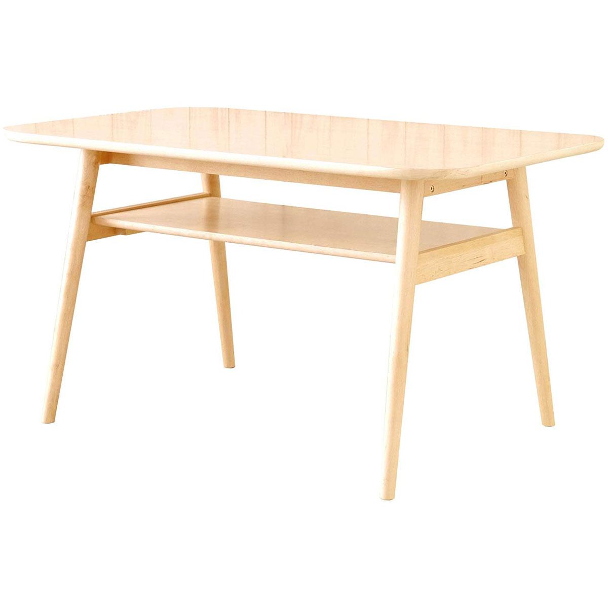 【送料無料】120 ダイニングテーブル 食卓机 食卓テーブル テーブルのみ 120cm 棚付き シンプル/北欧/ナチュラル/カントリー/フレンチ