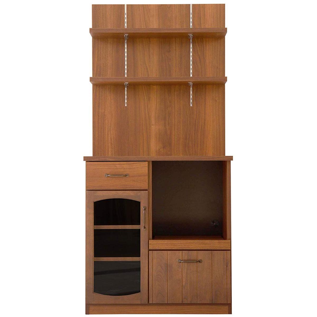 【送料無料】80 カウンターパネル付 食器棚 キッチンボード バックパネル シェルフ 幅80 大型