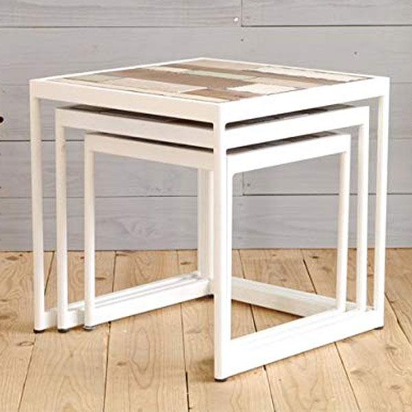 【送料無料】サイドテーブル 3点セット 海を感じさせるオシャレテーブル3点セット。インテリアとして、ディスプレイしても◎ソファーサイドに置いても、活躍するアイテムです。カリフォルニアテイストがお好きな方にオススメ★