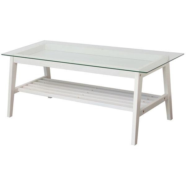 【送料無料】 リビングテーブル (BR/WH) ローテーブル ガラステーブル コレクションテーブル テーブル 棚付き ホワイト 白 シンプル/フレンチ/フレンチカントリー/ナチュラル 幅90cm 奥行き45cm 高さ40cm