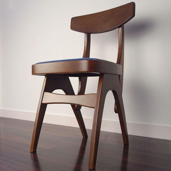 【送料無料】 チェア ダイニングチェア デスクチェア 食卓椅子 椅子 レトロなブラウンカラー 茶色 座面は合成皮革 幅39.5cm 奥行45.5cm 高さ70cm 座面高44cm レトロ/ミッドセンチュリー/モダン/ナチュラル/シン