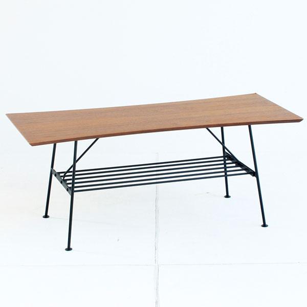 【送料無料】センターテーブル 棚付き リビングテーブル ローテーブル アイアン 幅100cm 奥行き45cm 高さ41cm ブラウン×ブラック コンパクト テーブル 机 シンプル/モダン/レトロ/ミッドセンチュリー/北欧