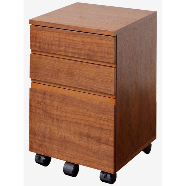 【送料無料】Walnut Desk Chest W340(ウォールナット デスクチェスト 幅34cm)ウォールナットの木目が際立つ、人気のワゴンキャスター付